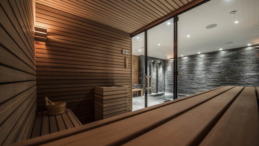 Sauna view at ski-in ski-out Catered Chalet Le Grenier Méribel Chalet Rental by In-Luxe Chalets France