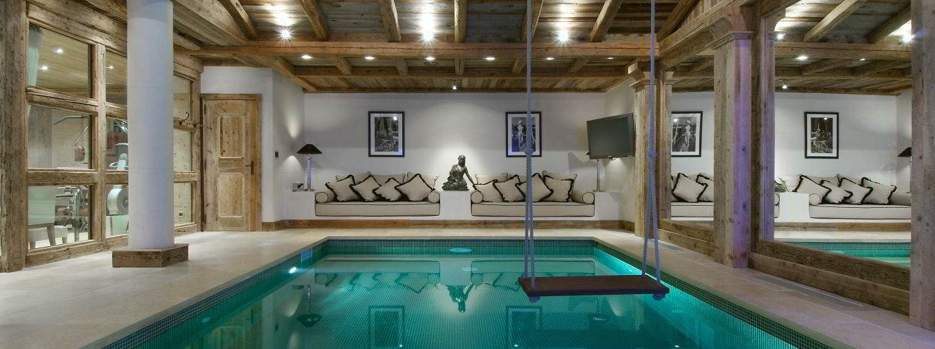 Luxury Chalet Grande Roche 14 people Staff indoor Pool for rental Courchevel 1850 with In-Luxe Chalets France